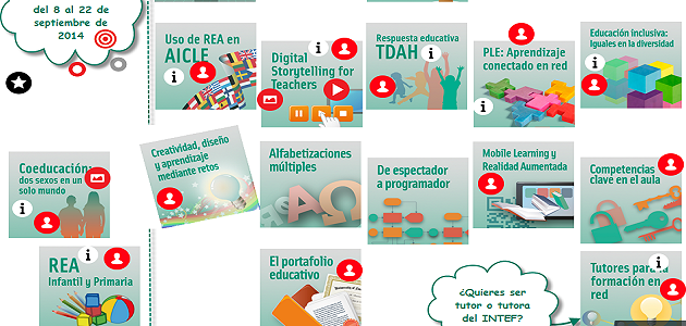 Convocatoria de cursos de Formación en Red del INTEF, segunda edición de 2014