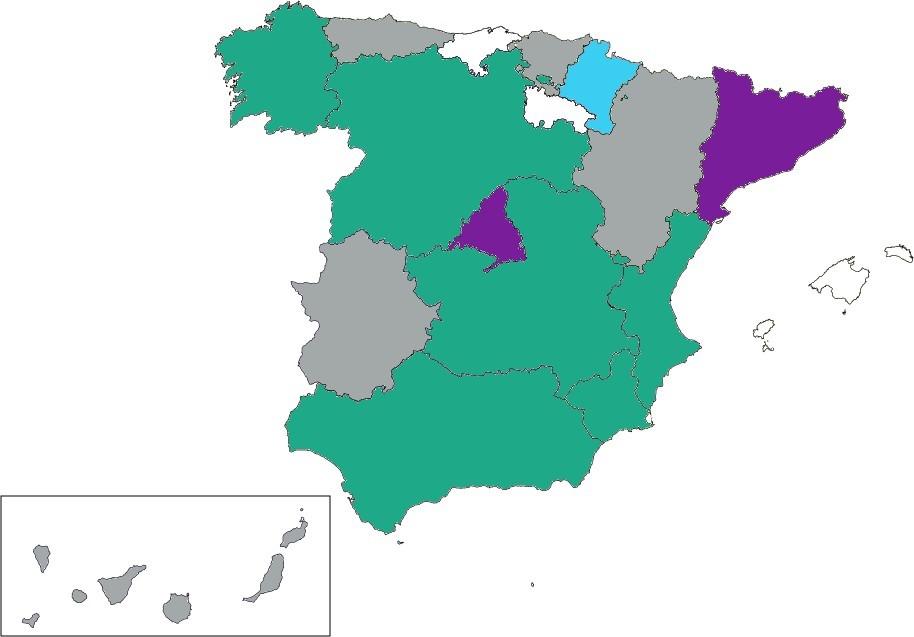 Mapa de España de las Comunidades Autónomas que han incluido nuevas asignaturas o contenidos sobre programación, robótica y pensamiento computacional.