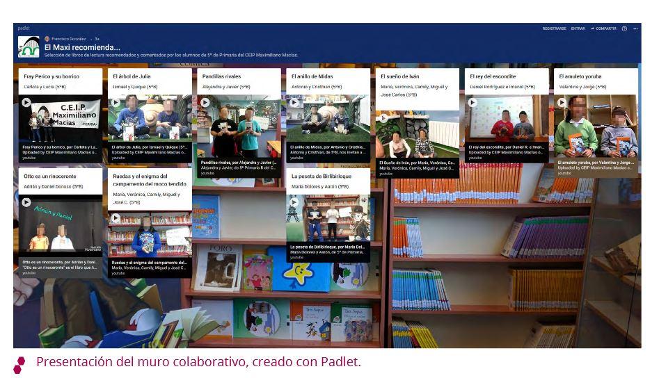Presentación del muro colaborativo, creado con Padlet