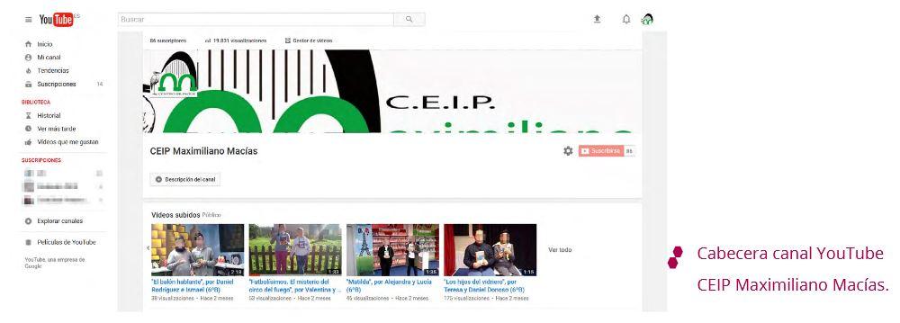 Cabecera canal YouTube CEIP Maximiliano Macías.