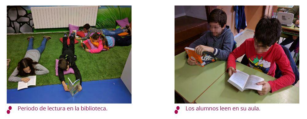 Periodo de lectura en la biblioteca y alumnos leyendo en su aula.