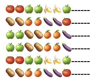 Partituras realizadas con frutas y verduras