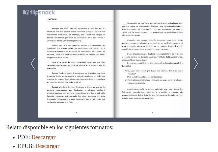 Los relatos están disponibles en diferentes formatos.