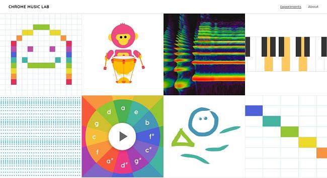 Página principal de Chrome Music Lab