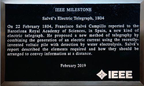 El IEEE reconoce al español Francesc Salvà i Campillo el descubrimiento del telégrafo eléctrico