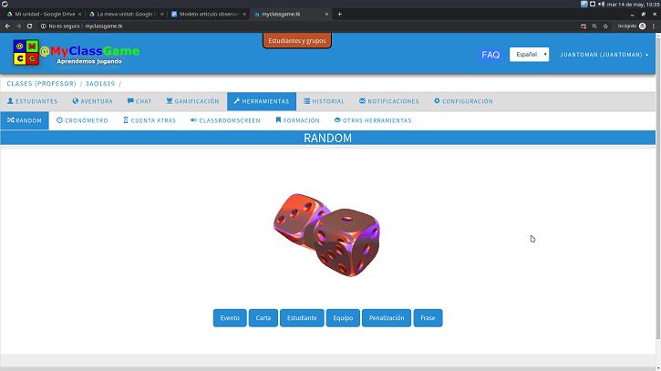 Imagen 7. Selección de elementos aleatorios del juego