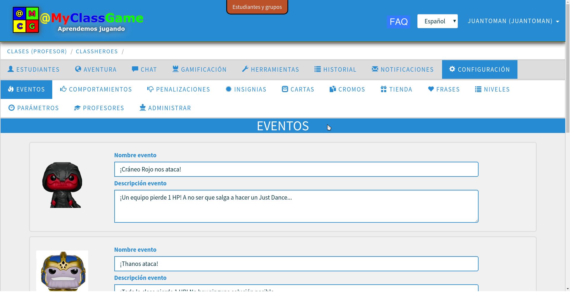 Imagen 3. Creación de eventos en la gamificación con @MyClassGame