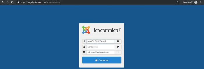 Imagen 1. Entrada backend de Joomla