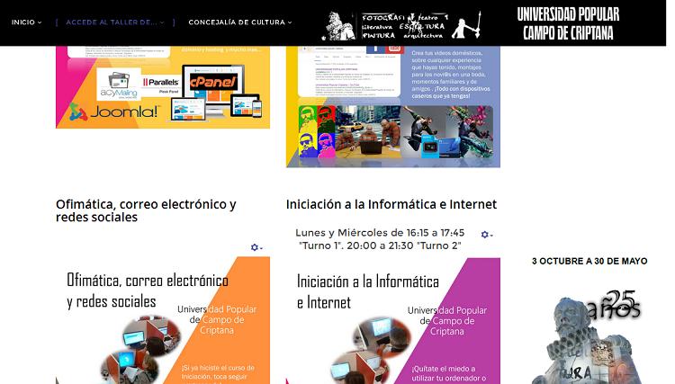 Imagen 11. Anuncio de los diferentes cursos a través de una plataforma en Joomla