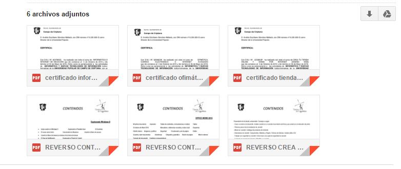 Imagen 14. Certificados para ser recogidos por el alumnado