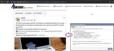 Imagen 3. Tablón de Facebook insertado a través de código generado por social plugins