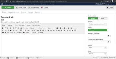 """Imagen 4. Opcion de """"Módulo personalizado"""" para insertar HTML de otros sitios"""
