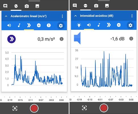 Imagen 2. Diferentes instrumentos de medida de la app
