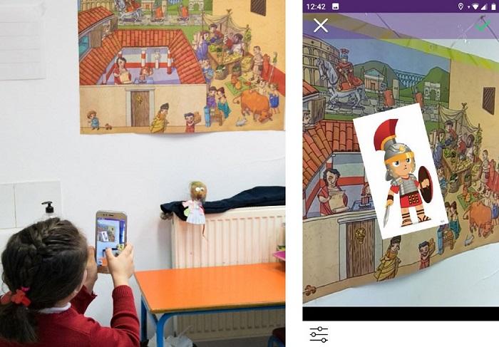 Imagen 7. Alumna enfocando al póster y detalle de la imagen que visualiza en el móvil