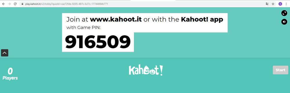 Imagen 9. Código del Kahoot creado.