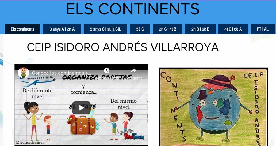 """""""Els continents"""": proyecto colaborativo en el que se realizó la experiencia."""