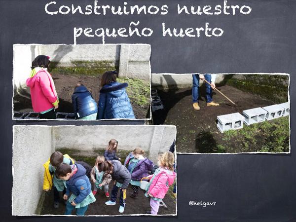 Construcción del huerto en el patio de la escuela.