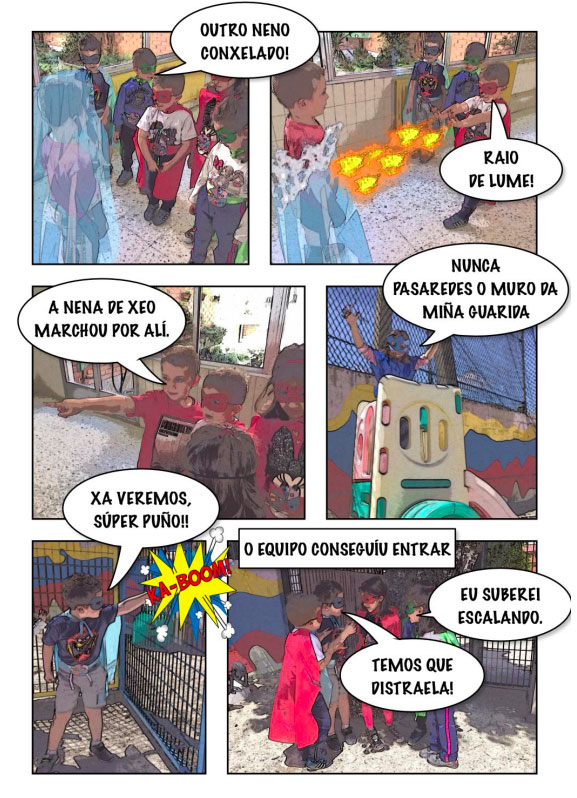 Páginas de un cómic creado por niños y niñas de 5 años.