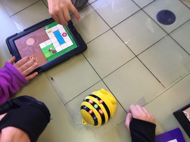Alumnado de Infantil jugando con la Beebot en físico y con la tablet.