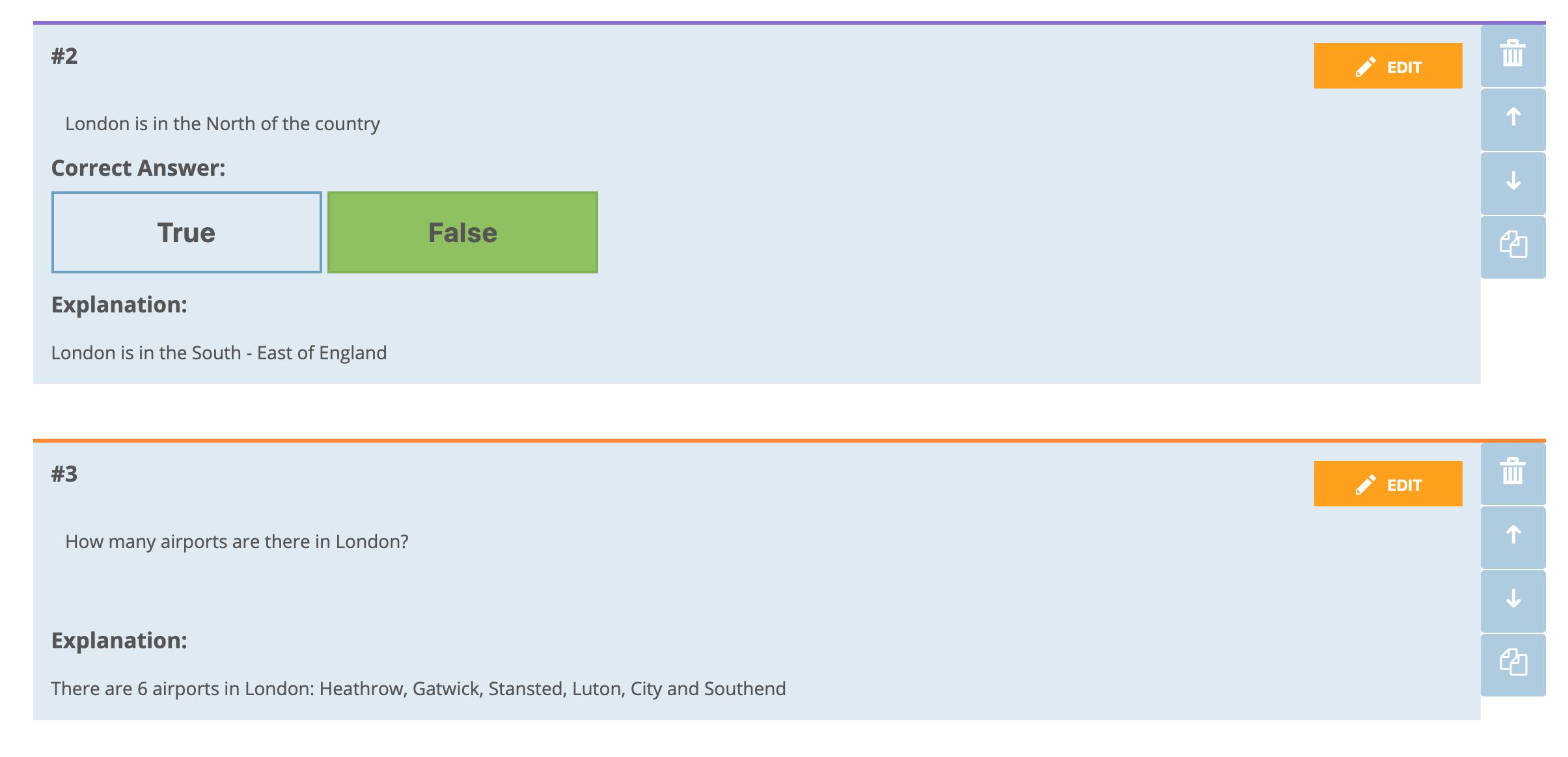 Ejemplo de elaboración de preguntas de verdadero o falso, y de respuesta corta