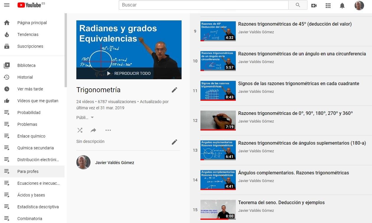 Lista de reproducción de los vídeos de Trigonometría.