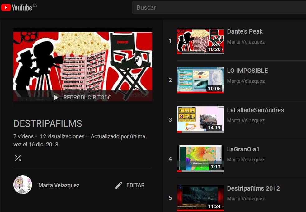 Lista de reproducción de Youtube de los vídeos de los alumnos del proyecto Destripafilms