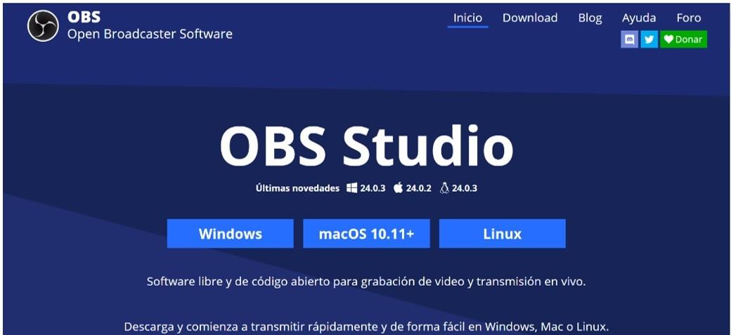 Portada de la página principal de OBS Studio