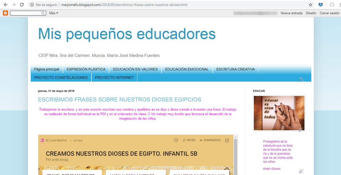 El panel digital en nuestro blog de aula.