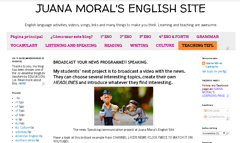 Imagen de la portada del blog: Juana Moral's English Site.