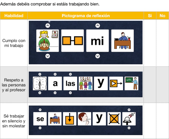 Diario de aprendizaje con pictogramas. Habilidades y destrezas sociales.