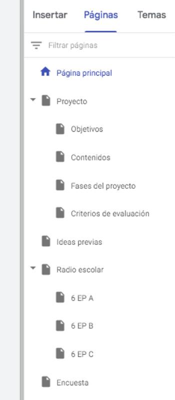 Estructura de páginas
