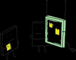 Ilustración con dos libros y una pantalla