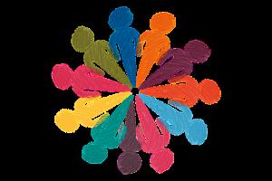 Ilustración con varias siluetas de personas en círculo