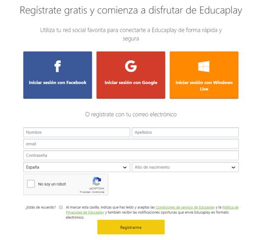 Registro en la plataforma Educaplay