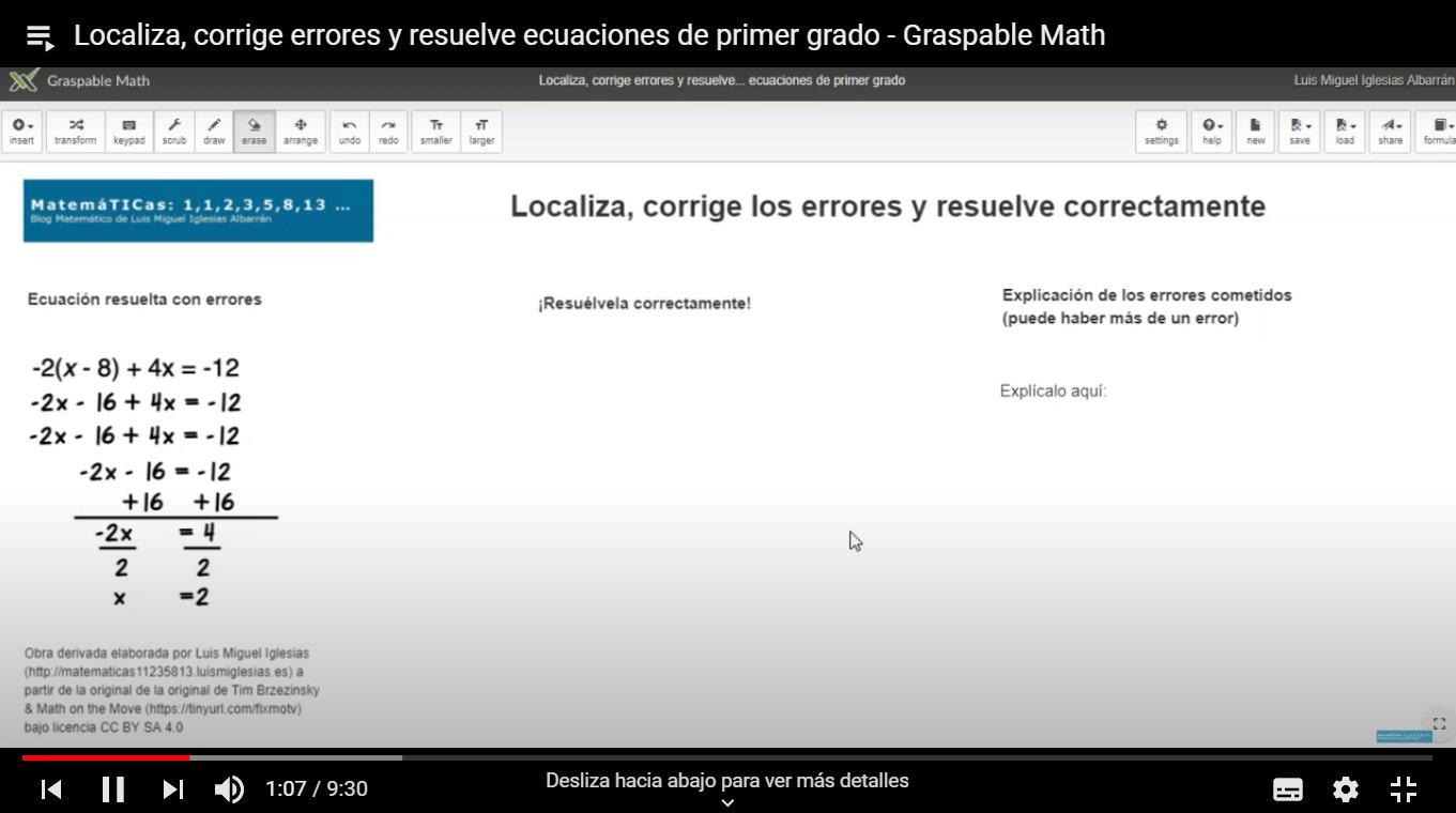 Lista de vídeos Graspable Math en Youtube
