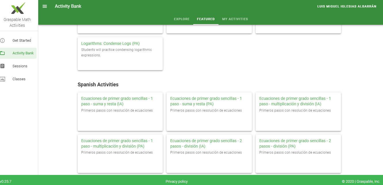 Banco de actividades GMA. Actividades en español