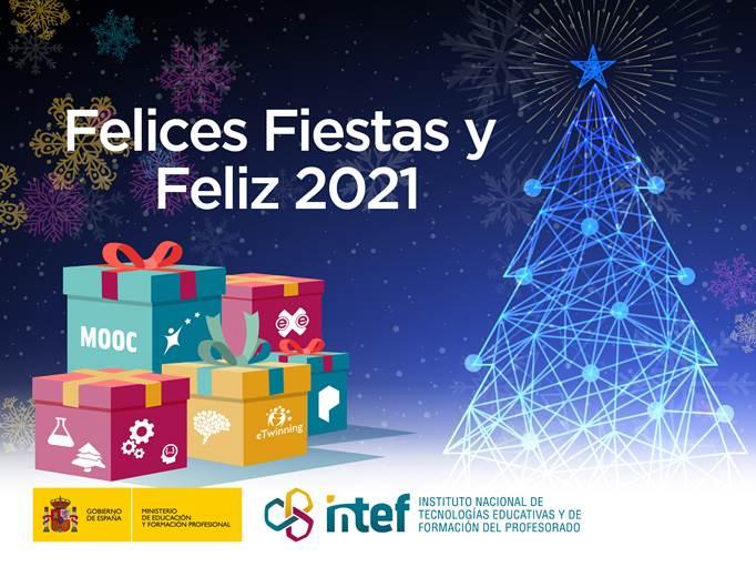 Felicitación navideña, con un árbol y varios regalo. El texto dice: Felices Fiestas y Feliz 2021
