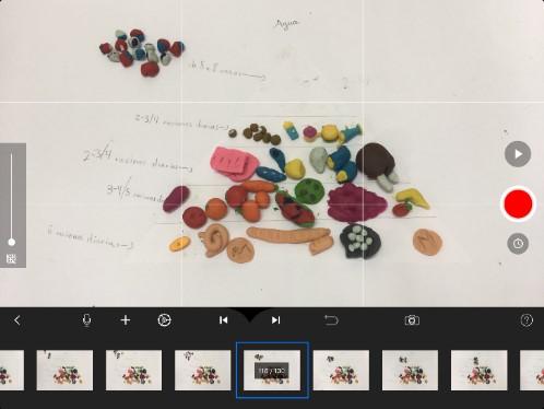 Timeline con los fotogramas de la app Stop Motion StudioEspacio para el texto