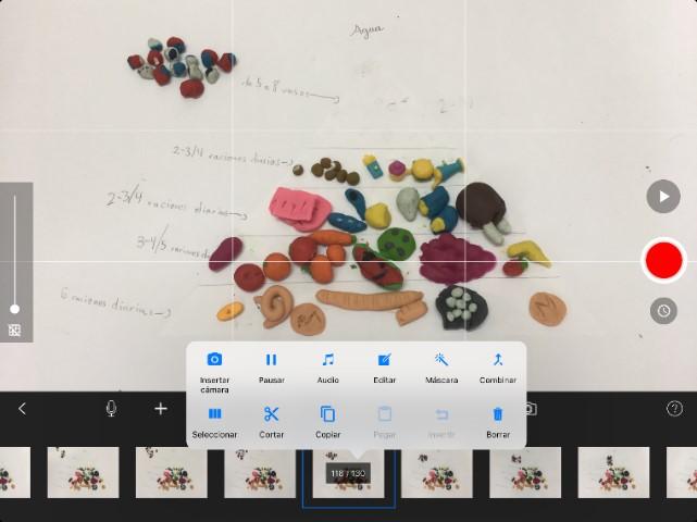 Opciones de edición de la app Stop Motion Studio
