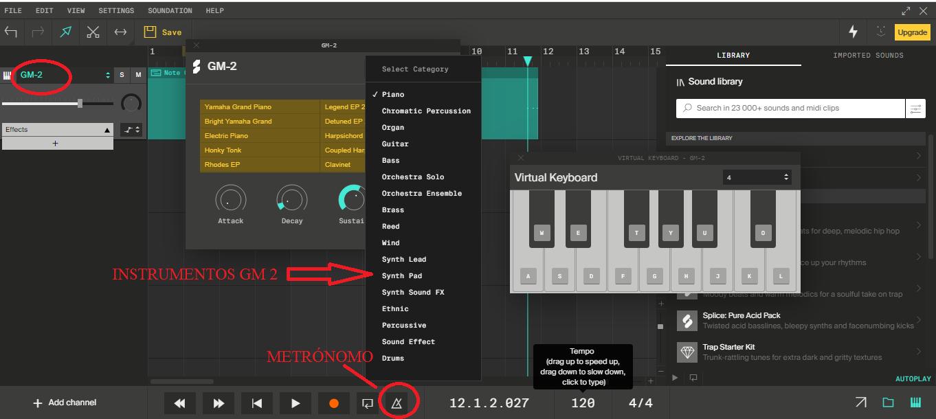 Sonidos disponibles desde la opción General MIDI 2.