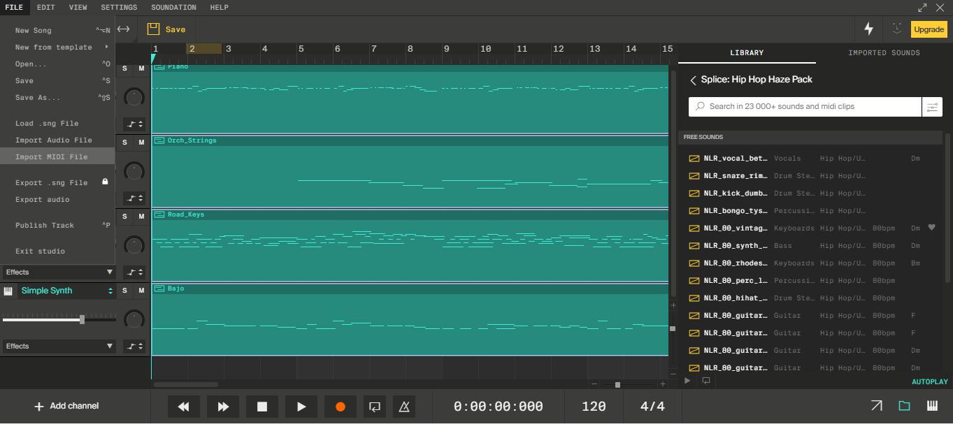 MIDI importado al programa con cuatro pistas diferentes.