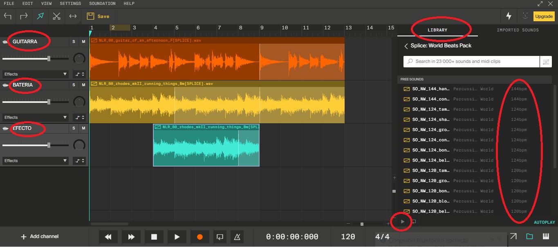 Tres muestras de sonido importadas de la biblioteca interna con una duración de 12 compases.