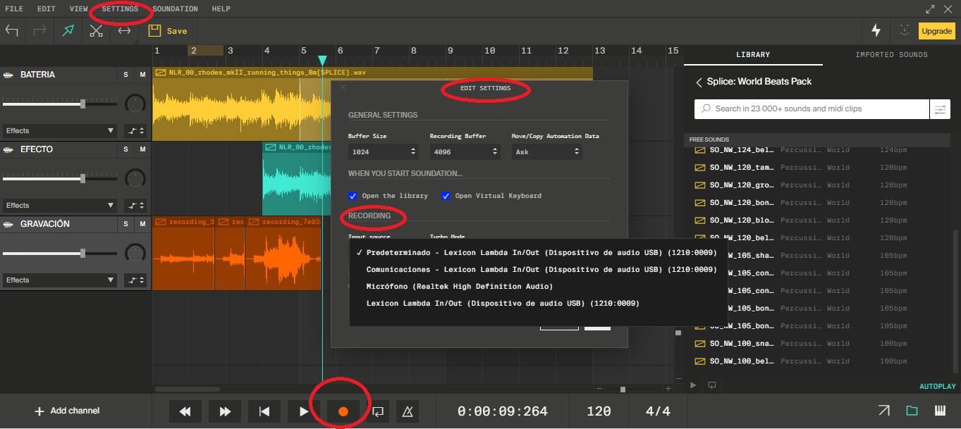 Configuración para gravar desde una tarjeta de sonido externa.