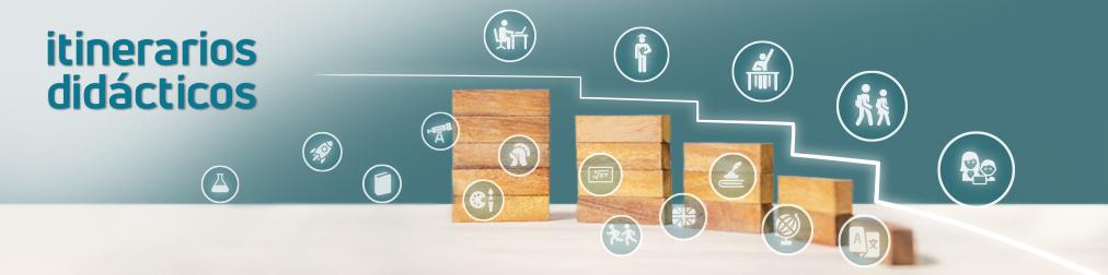 Fotografía descriptiva Itinerarios didácticos. Niña jugando construyendo una rampa con bloques de madera. Iconos de distintas materias didácticas y niveles educativos