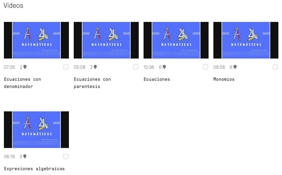 Vídeos asignados en Edpuzzle.
