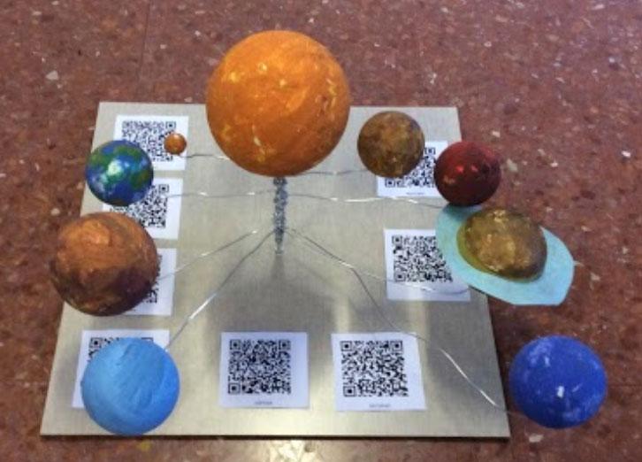 Maqueta del Sistema Solar realizada por uno de los grupos.