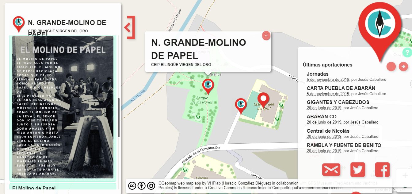 Producto final: CGeomap appweb a través de la RA aparece la información creada por los alumnos en el sitio concreto.