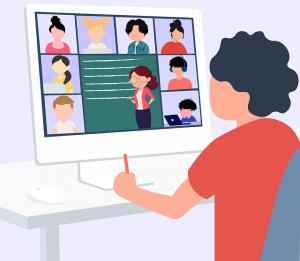 Ilustración en la que aparece un niño asistiendo a una clase online.
