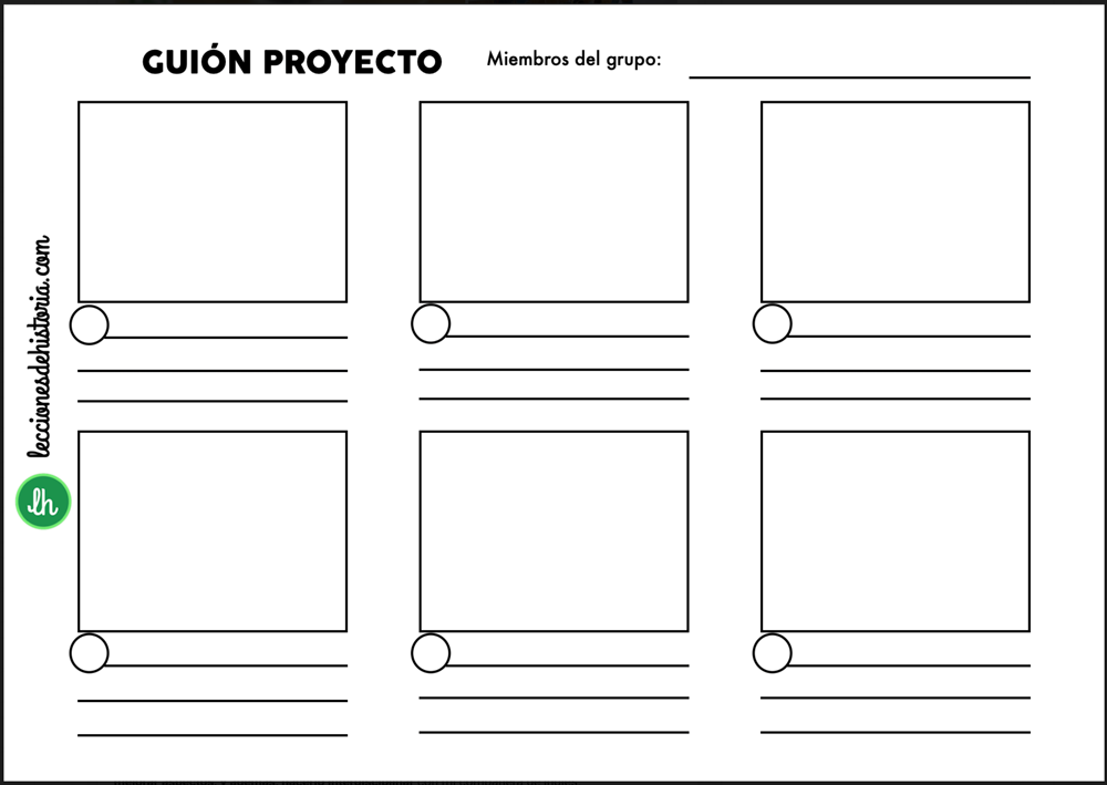 Plantilla de guion proporcionada al alumnado.