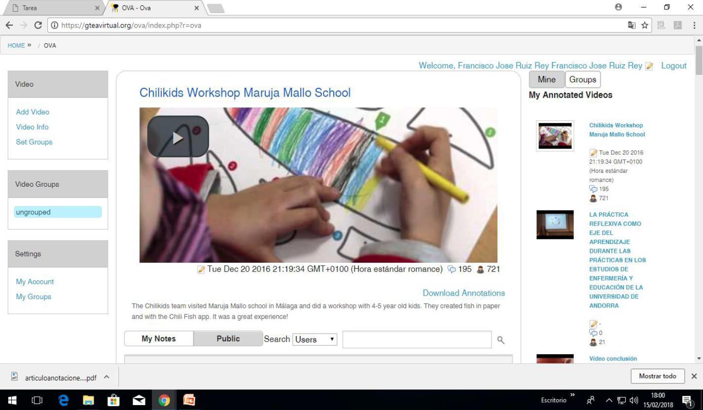 Uso de la herramienta OVA en el Grado de Infantil de la Facultad de Educación en 2016